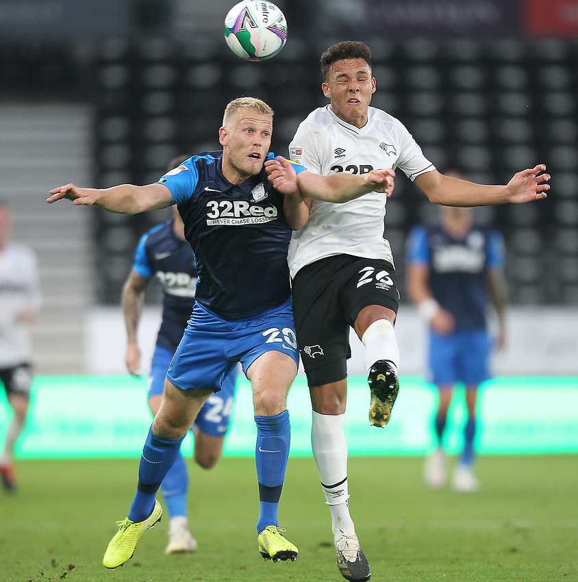 Preston North End's Jayden Stockley battles with  Derby County's Lee Buchanan<br /> <br /> Photographer Mick Walker/CameraSport<br /> <br /> Carabao Cup Second Round Northern Section - Derby County v Preston North End - Tuesday 15th September 2020 - Pride Park Stadium - Derby<br />  <br /> World Copyright © 2020 CameraSport. All rights reserved. 43 Linden Ave. Countesthorpe. Leicester. England. LE8 5PG - Tel: +44 (0) 116 277 4147 - admin@camerasport.com - www.camerasport.com