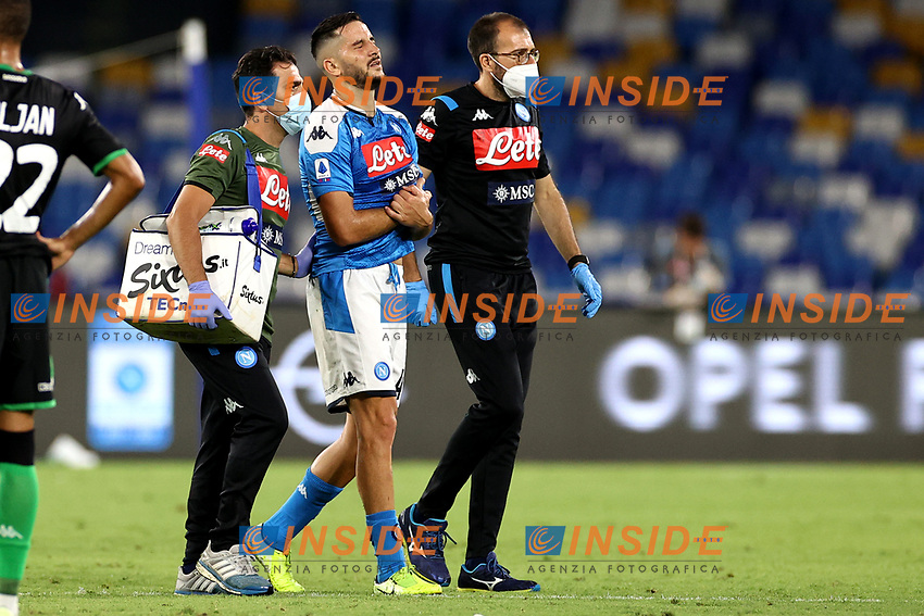 Konstantinos Manolas of SSC Napoli leaves the field injured during the Serie A football match between SSC Napoli and US Sassuolo at stadio San Paolo in Napoli ( Italy ), July 25th, 2020. Play resumes behind closed doors following the outbreak of the coronavirus disease. <br /> Photo Cesare Purini / Insidefoto