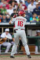 Arkansas Razorbacks outfielder Andrew Benintendi (16) at bat during the NCAA College baseball World Series against the Miami Hurricanes on June 15, 2015 at TD Ameritrade Park in Omaha, Nebraska. Miami beat Arkansas 4-3. (Andrew Woolley/Four Seam Images)