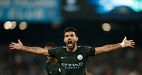 Football Soccer: UEFA Champions League Napoli vs Mabchester City San Paolo stadium Naples, Italy, November 1, 2017. <br /> Manchester City's Sergio Aguero celebrates during the Uefa Champions League football soccer match between Napoli and Manchester City at San Paolo stadium, November 1, 2017.<br /> UPDATE IMAGES PRESS/Isabella Bonotto