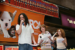 "Constantine Maroulis - B & B stars in Rock of Ages is on stage with Mary Tyler Moore and Bernadette Peters at Broadway Barks 11 - a ""Pawpular"" star-studded dog and cat adopt-a-thon on July 11, 2009 in Shubert Alley, New York City, NY. (Photo by Sue Coflin/Max Photos)"