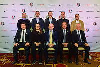 Los Angeles, CA - Thursday January 12, 2017: NWSL head coaches Rory Dames, Christy Holly, Vlatko Andonovski, Mark Parsons, Randy Waldrum, Matt Beard, Laura Harvey, Paul Riley, Jim Gabarra, Tom Sermanni prior to the 2017 NWSL College Draft at JW Marriott Hotel.