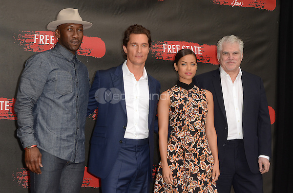 LOS ANGELES, CA - MAY 11: Mahershala Ali, Matthew McConaughey, Gugu Mbatha-Raw and Garry Ross at the photo call for STX Entertainment's 'Free State Of Jones' at the Four Seasons Hotel Los Angeles at Beverly Hills on May 11, 2016 in Los Angeles, California. Credit: David Edwards/MediaPunch