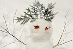 Sullivan County. Snowwoman with leaves, branches, and hemlock hair.