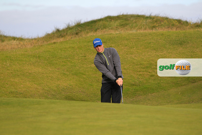 Colin Fairweather (Knock) on the 1st green during Round 2 of the South of Ireland Amateur Open Championship at LaHinch Golf Club on Thursday 23rd July 2015.<br /> Picture:  Golffile | Thos Caffrey