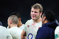 Joe Launchbury of England looks on after the match. Old Mutual Wealth Series International match between England and South Africa on November 12, 2016 at Twickenham Stadium in London, England. Photo by: Patrick Khachfe / Onside Images