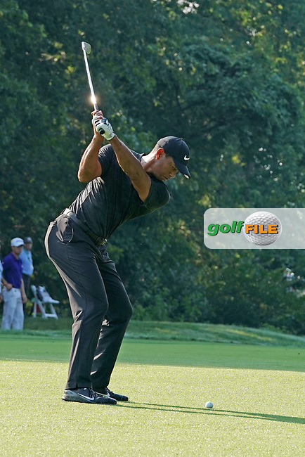 Tiger Woods (USA) hits a shot out of the fairway on the 14th hole during the second round of the 100th PGA Championship at Bellerive Country Club, St. Louis, Missouri, USA. 8/11/2018.<br /> Picture: Golffile.ie | Brian Spurlock<br /> <br /> All photo usage must carry mandatory copyright credit (© Golffile | Brian Spurlock)