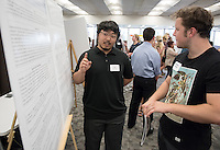"Timothy Chung '17 explains his work on ""Thermal Expansion and Magnetostriction of the Magnetic Superconductor TmNi2B2C and the Nonmagnetic Superconductor LuNi2B2C""<br /> Occidental College's Undergraduate Research Center hosts their annual Summer Research Conference on Aug. 4, 2016. Student researchers presented their work as either oral or poster presentations at the final conference. The program lasts 10 weeks and involves independent research in all departments.<br /> (Photo by Marc Campos, Occidental College Photographer)"