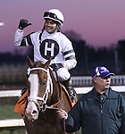 Will Take Charge and happy rider Luis Saez after G1 Clark Handicap win at Churchill Downs.<br /> November 29, 2013.