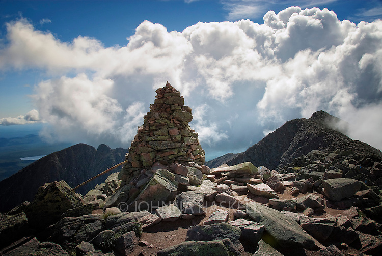 Baxter Peak Cairn showing the highest summit of 5267 feet on Mount Katahdin in Baxter State Park, Maine. the cairn marks the end of the Appalachian trail.