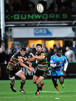 Aviva Premiership. Northampton, England. Christian Wade of London Wasps kicks and chase during the Aviva Premiership match between Northampton Saints and London Wasps at Franklin's Gardens on September 28. 2012 in Northampton, England.