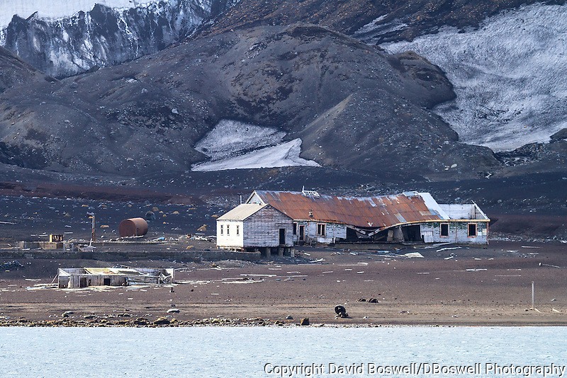 A ruined building at Whalers Bay is a remnant of the bygone whaling era at the abandoned Norwegian whaling base  on Deception Island, in the South Shetland Islands near the Antarctic Peninsula.