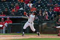 Oregon State Beavers right fielder Tyler Malone (7) follows through on his swing during a game against the New Mexico Lobos on February 15, 2019 at Surprise Stadium in Surprise, Arizona. Oregon State defeated New Mexico 6-5. (Zachary Lucy/Four Seam Images)