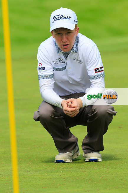 Gavin Moynihan (IRL) on the 15th green during Thursday's Round 1 of the 2016 Dubai Duty Free Irish Open hosted by Rory Foundation held at the K Club, Straffan, Co.Kildare, Ireland. 19th May 2016.<br /> Picture: Eoin Clarke | Golffile<br /> <br /> <br /> All photos usage must carry mandatory copyright credit (&copy; Golffile | Eoin Clarke)