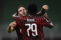 Davide Calabria of AC Milan celebrates with Franck Kessie after scoring a goal during the Serie A football match between AC Milan and Bologna FC at stadio Giuseppe Meazza in Milano ( Italy ), July 18th, 2020. Play resumes behind closed doors following the outbreak of the coronavirus disease. <br /> Photo Image Sport / Insidefoto