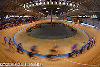 Jul 17, 2007; Rio de Janeiro, Brazil; Riders practice for the mens sprint in the Pan American Games at the Velodromo in Rio de Janeiro. Mandatory Credit: Mark J. Rebilas-US PRESSWIRE Copyright © 2007 Mark J. Rebilas
