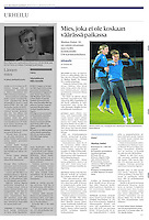 Helsingin Sanomat (leading Finnish daily) on Finnish/Hungarian football, November 2013<br /> Photo: Martin Fejer