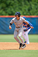 GCL Marlins catcher Will Banfield (10) leads off second base during a game against the GCL Mets on August 3, 2018 at St. Lucie Sports Complex in Port St. Lucie, Florida.  GCL Mets defeated GCL Marlins 3-2.  (Mike Janes/Four Seam Images)