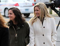 CHARLOTTESVILLE, VA - FEBRUARY 17:  Caroline Wattenmaker, left, and Kate Kamber, right, both testified they were at George Huguely's apartment when Yeardley Love argued and hit  Huguely over the head with her purse a week prior to her murder. Huguely was charged in the May 2010 death of his girlfriend Yeardley Love. She was a member of the Virginia women's lacrosse team. Huguely pleaded not guilty to first-degree murder. (Credit Image: © Andrew Shurtleff/