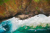 Unnamed waterfalls, Na Pali coast, Kauai, Hawaii, Pacific Ocean