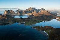 View over mountain landscape from summit of Offersoykammen, Vestvagoya, Lofoten Islands, Norway