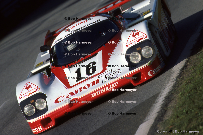 LE MANS, FRANCE: The Porsche 956 007 driven by Nick Mason, René Metge and Richard Lloyd approaches the Arnage corner during the 24 Hours of Le Mans at Circuit de la Sarthe in Le Mans, France, on June 17, 1984.