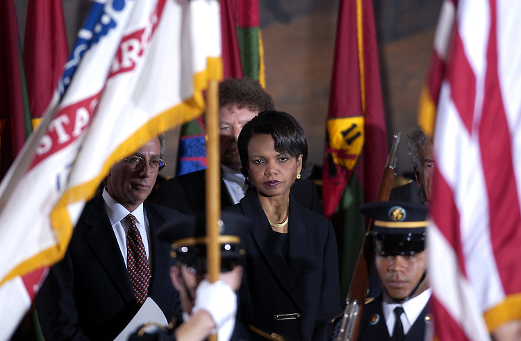 """Holocaust3/040902 -- Condoleezza Rice, Assistant to the President for National Security Affairs watches as the 3rd U.S. Infantry (Old Guard)  enters the Rotunda of the U.S. Capitol for the """"Holocaust Memorial Days of Remembrance Program."""""""