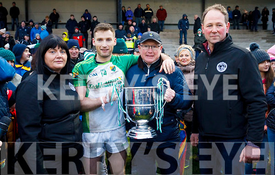 Presentation of the NKFB Football cup. l to r. Mairead O'Sullivan (NKFB Sec), Ballydonoghue captain Paul Kennelly, Greg Ryan (Sponsor) and NK Football Board Chairman, Johnny Stack.