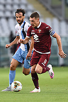 Marco Parolo of SS Lazio and Andrea Belotti of Torino FC  compete for the ball during the Serie A football match between Torino FC and SS Lazio at stadio Olimpico in Turin ( Italy ), June 30th, 2020. Play resumes behind closed doors following the outbreak of the coronavirus disease. <br /> Photo Image Sport / Insidefoto