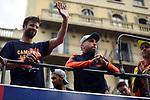 League Santander 2017/2018.<br /> Rua de Campions FC Barcelona.<br /> Gerard Pique &amp; Jordi Alba.