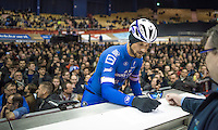 Tom Boonen (BEL/Quickstep)<br /> signing-in for the Omloop for a very last time  inside the legendary Kuipke Velodrome<br /> <br /> 72nd Omloop Het Nieuwsblad 2017