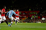 Bernardo Silva of Manchester City scoring the first goal during the Carabao Cup match at Old Trafford, Manchester. Picture date: 7th January 2020. Picture credit should read: Darren Staples/Sportimage