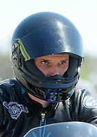 Jul. 17, 2010; Sonoma, CA, USA; NHRA pro stock motorcycle rider David Hope during qualifying for the Fram Autolite Nationals at Infineon Raceway. Mandatory Credit: Mark J. Rebilas-