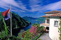 CHE, Schweiz, Tessin, Villa auf dem Monte Bre mit Blick auf den Luganer See | CHE, Switzerland, Ticino, Villa at Monte Bre with view across Lago Lugano