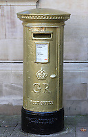 Bedford, UK - Gold postbox in recognition of Olympic Gold medallist Etienne Stott -  A selection of views of the county town of Bedford, England - 15th September 2012..Photo by Keith Mayhew