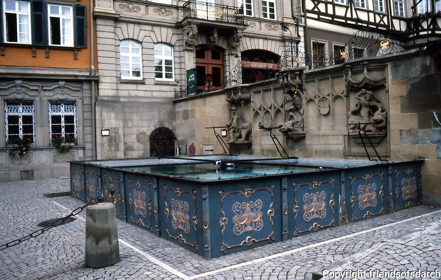 Schwabisch Hall: Cast iron watering trough or fountain. Dates from 1509  (Michelin).