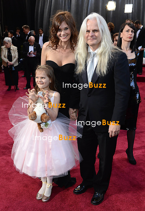 Claudio Miranda, Kelli Bean and daughter Sofia arriving for the 85th Academy Awards at the Dolby Theatre, Los Angeles.