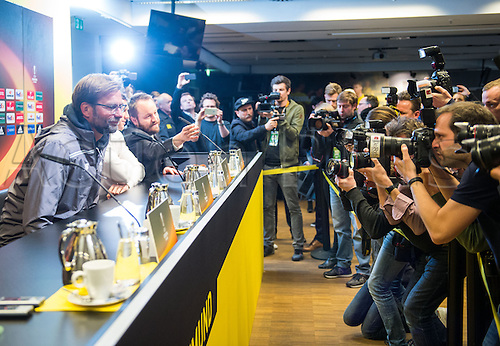 06.04.2016. Dortmund, Germany.  Liverpool's head coach Juergen Klopp (L) attends a press conference at Signal Iduna Park in Dortmund, Germany. Liverpool will face Borussia Dortmund in an UEFA Europa League quarter final first leg soccer match on April 7th.
