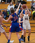 WINSTED,  CT-021919JS17-  Housatonic's Madelynn Olownia (25) puts up a shot over Nonnewaug's Maddie Woodward (34) during their Berkshire League semi-final game Tuesday at Northwestern Regional High School in Winsted. <br /> Jim Shannon Republican American