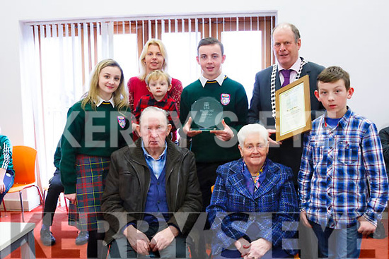 Killorglin Student Jack Nagle was honoured by the South and West Municipal District this week for his invention the tractor lock to save lives on farms.<br /> Pictured with his family at Friday's presentation Front left to right his grandparents Patrick and Eileen O'Sullivan and his brother Gearoid. <br /> Back left to right his sister, Chloe, Mom Irene and brother, Ryan, Jack and Mayor of South and West Seamus Cosai Fitzgerald.
