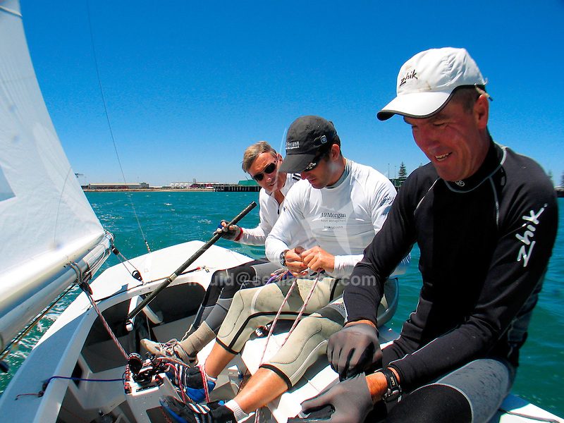 John Bertrand, Ben Ainslie and Andrew Palfrey training onboard Triad for the Etchells Australian Championship 2009..Ben Ainslie to join John Bertrand's dream team!.Ben Ainslie, Britain's Triple Olympic gold & silver medallist, & ISAF World Sailor of the Year 2008 will be in Adelaide in January to compete at the Commonwealth Bank Etchells Australian Championships. Ben won Gold in the Laser class in Sydney 2000, and then moved to the Finn class where he won Gold again at Athens 2004 & Beijing 2008 (not to mention 5 World Titles!). Ben has also been announced as skipper of the British America's Cup campaign 'Origin' for the 33rd America's Cup challenge in 2009..Ben will be teaming up with Victoria's John Bertrand & Andrew Palfrey to create a formidable crew.