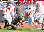Palos Verdes, CA 10/21/16 - Julian Woodard (Redondo Union #1), Jordan Jackson (Redondo Union #13), Dajuanye Wingfield (Redondo Union #59) and Zach Mcguinness (Peninsula #3) in action during the CIF Southern Section Bay League Redondo Union - Palos Verdes Peninsula game at Peninsula High School.