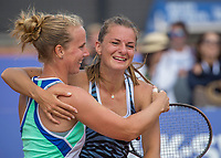 Amstelveen, Netherlands, 1 August 2020, NTC, National Tennis Center, National Tennis Championships, Women's Doubles final: Quirine Lemoine (NED) (R) and Richel Hogenkamp (NED) celebrate their win<br /> Photo: Henk Koster/tennisimages.com