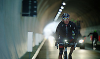 Halfway in the race the Passo del Turchino tunnel is the highest point of the race and from here the riders descend towards the Mediterranean.<br />