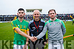 Mikey Boyle Ballyduff and John Buckley Lixnawwith Referee in the Senior County Hurling Final in Austin Stack Park on Sunday
