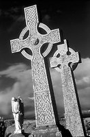 B & W infrared Celtic crosses and angel tombstones, Oban, Scotland