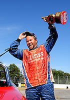 Sept. 6, 2010; Clermont, IN, USA; NHRA super gas driver Shawn Langdon celebrates after winning the U.S. Nationals at O'Reilly Raceway Park at Indianapolis. Mandatory Credit: Mark J. Rebilas-