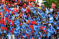 Fans in the terraces during 2017 Rugby League World Cup match between Toa Samoa and Mate Ma'a Tonga at the FMG Stadium in Hamilton, New Zealand on Saturday, 4 November 2017. Photo: Dave Lintott / lintottphoto.co.nz
