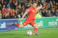 Cardiff City Stadium, Friday 11th Oct 2013. Aaron Ramsey of Wales in action during the Wales v Macedonia FIFA World Cup 2014 Qualifier match at Cardiff City Stadium, Cardiff, Friday 11th Oct 2014. All images are the copyright of Jeff Thomas Photography-07837 386244-www.jaypics.photoshelter.com