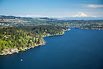aerial photo of Bellevue homes along the shores of Lake Washington with Mount Rainier in the background